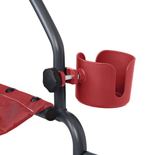 Medline Universal Cup Holder for Rollator Walkers, Transport Chairs, and Wheelchairs, Red