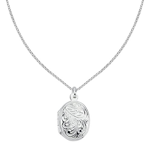 Vinani Anhänger Indien Design Medaillon mit Verzierungen zum Öffnen glänzend mit Fiorentina Kette 60 cm Sterling Silber 925 Kette Italien 2AMI-F560