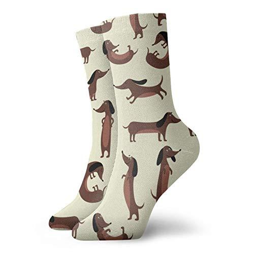 LLeaf Calcetines largos de los deportes del equipo de los hombres, calcetines para hombre de la compresión del perro del Dachshund