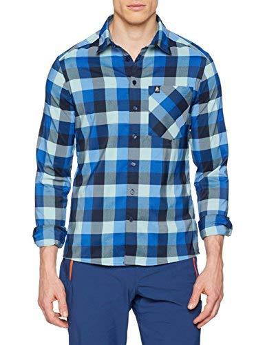 Odlo T-Shirt L/S Nikko Check Chemise S Energy Blue/Diving Navy/Nile Blue/Check