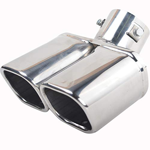 63mm Exhaust Tips Muffler Stainless Steel Car Exhaust Tail Pipe Double Outlet Square Mouth End Pipe Silver