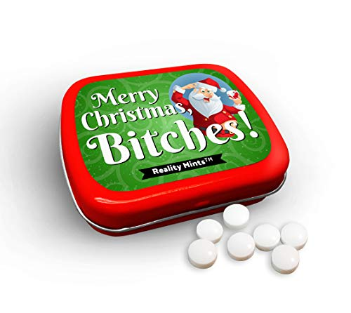 Merry Christmas Bitches Mints Cute Holiday Gags for Friends Men Women Weird Stocking Stuffers for Adults Peppermint Breath Mints Secret Santa White Elephant Drunk Santa Office Christmas