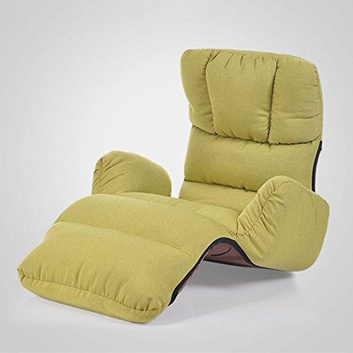 KFXL yizi Art de tissu Pratique chaise pliante créative/chambre simple balcon baie vitrée chaise/canapé individuel inclinable/salon chaise de plancher décontractée (4 couleurs disponibles)