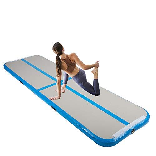 Y-NOT Gymnastikmatte 3M/4M/5M/6M Aufblasbar Tumbling Matte Trainingsmatte Turnmatte Bodenmatte Inflatable Yoga Gymnastics Fitness Mat (Blau, 300x100x10 cm)