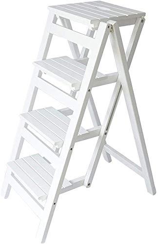 Silla plegable multifunción para el hogar de madera maciza Taburete con escalera de 4 escalones Escalera de escalada portátil para interiores Herramientas de jardín Carga máxima 150 kg (Color: blanco)