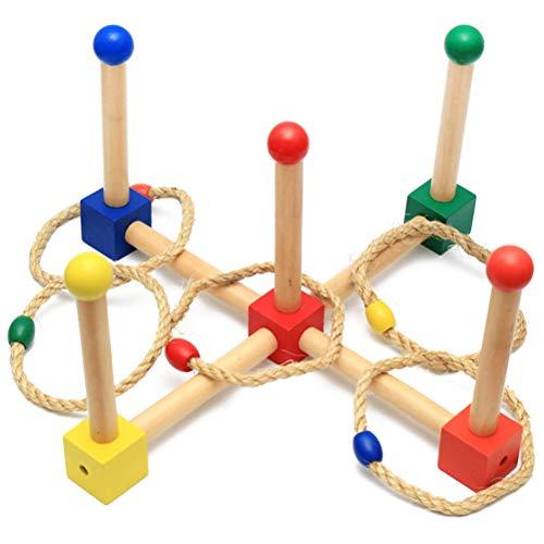 Daxoon ringwerpspel, grappig houten gooien, speelset, ringwerpspel voor binnen en buiten, familie, tuin spel