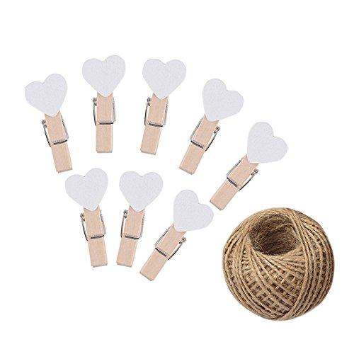 100 Pcs White Mini Wooden Heart Clothespins 3.5 cm with Spring Wooden Photo Paper Pegs Craft Clips for Wedding Party Decor with 100 Feet Jute Twine