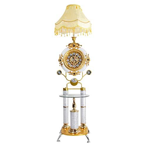 Feng Lian Staande lamp, moderne minimalistische stijl, staande lamp met tafel en klok, voor woonkamer, slaapkamer, werkkamer, staand licht