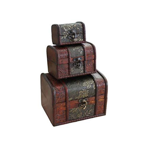 Toyvian Caja de Almacenamiento de Joyas de Madera Vintage Caja de Tesoro...