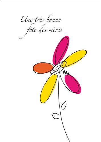 Fröhliche, französische Muttertagskarte mit bunter Blume: Une très bonne fête des mères • auch zum direkt Versenden mit ihrem persönlichen Text als Einleger. • hübsche hochwertige Grusskarte mit Umschlag für nette Grüsse