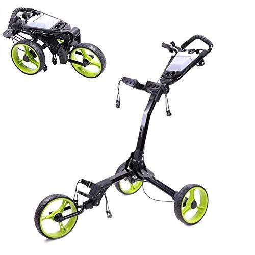 Z&HA Faltbare Golf Cart, 3-Rad Golf Trolley Multifunktional mit Bremsanzeiger Golf Buggy leicht Push- und Pull-Golf-Trolley Unisex