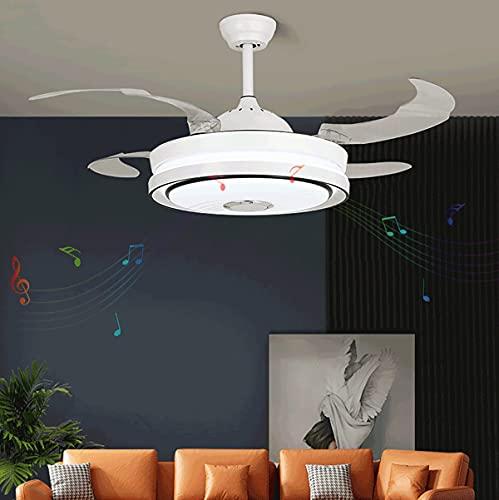 Cocina Ventilador De Techo Bluetooth Mando Ventilador Techo Lampara Ventilador Reversibile Comedor Ventilador Y Plafón De Techo Regulable Ajustable Velocidad Del Viento Iluminacion Led