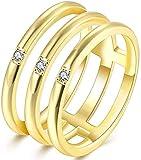 LAMUCH Anelli impilabili Vintage da Donna 3 in 1 Placcato in Oro Rosa 18 carati con zirconi per esaltatore da Sposa Pianura Misura 6-8