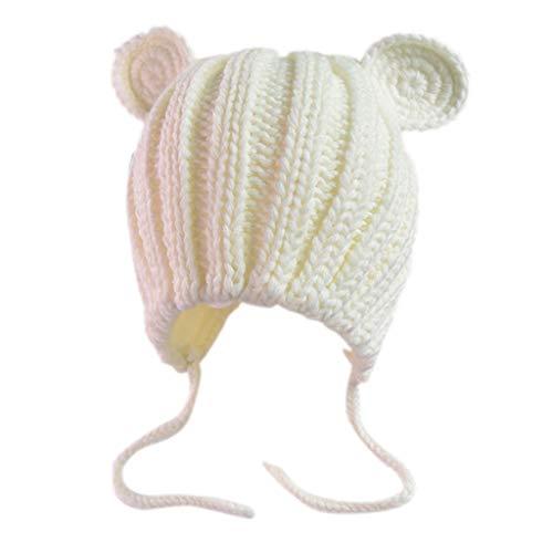 JOYKK Bonnet bébé Tricoté Côtelé Crochet Ours Chat Oreilles Spirales Unicolore Earflap Beanie Bonnet Infant Hiver Épaississement Au Chaud - Blanc
