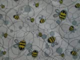 Fat Quarter (18 x 22) Bumble Bees Buzzing Yellow Blue Gray Cotton Fabric FQ