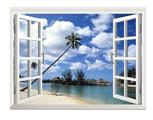 Scenario di finestra sul mare 4 kit di pittura diamante 5D pieno di diamanti Ricamo fai-da-te punto croce decorazione della parete domestica pittura 40x50cm