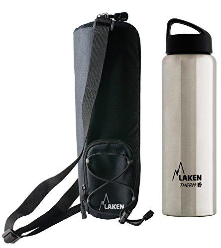 Laken Botella Térmica 1 Litro de Inoxidable 18/8 y Doble Pared de Vacío Classic (Boca Ancha) + Funda térmica Aislante con Bandolera 1,5L, Acero