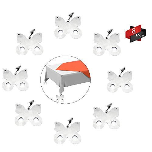 Anyingkai 8Pcs Tischdeckenbeschwerer Outdoor, Tischdeckenbeschwerer Edelstahl, Tischdeckenbeschwerer Set, Tischtuchhalter für Drinnen Draußen, Tischdeckenbeschwerer mit Klammer (Schmetterling)