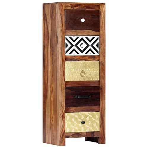 vidaXL Sheesham-Holz Massiv Beistellschrank 5 Schubladen Schubladenkommode Schrank Flurschrank Mehrzweckschrank Anrichte Kommode 40x30x110cm Palisander