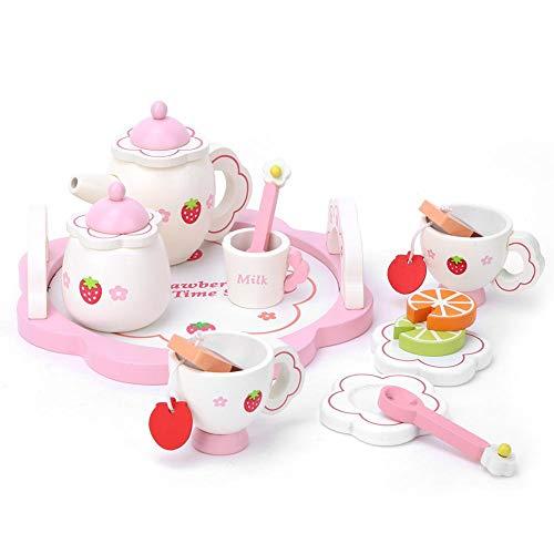 01 Juguete de simulación para té, Juguete insípido para té, para niños(Pink Tea Set)