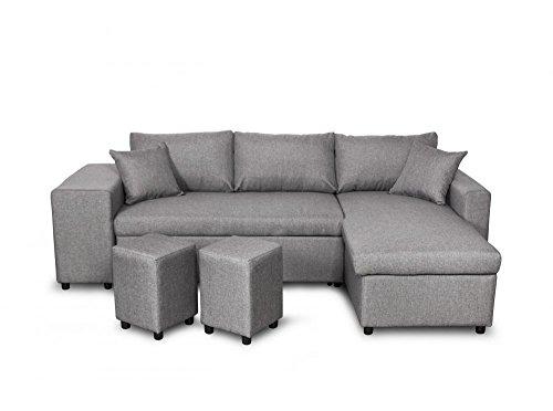 Canapé d'angle Gris Tissu