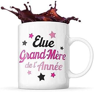 Mug Life Mug Grand-Mère Cadeau « Élue grand-mère de l'année »   Résistant au Lave-Vaisselle et Micro-Ondes   Hauteur : 9,7...