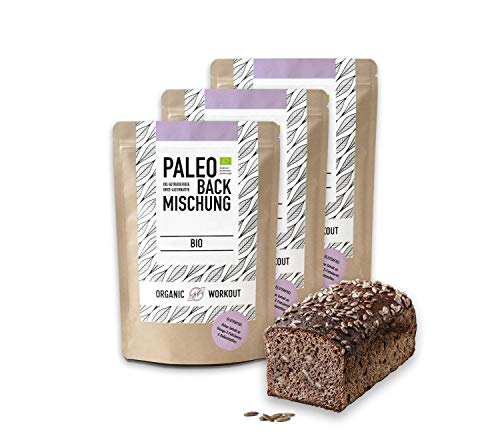 Organic Workout PALEO-BACKMISCHUNG 3er Pack | Bio | Brot-Alternative-gluten-frei | lower-carb | Eiweiss-Brot | clean-eating | Fitness | hefefrei | ohne Getreide | hergestellt in Deutschland …