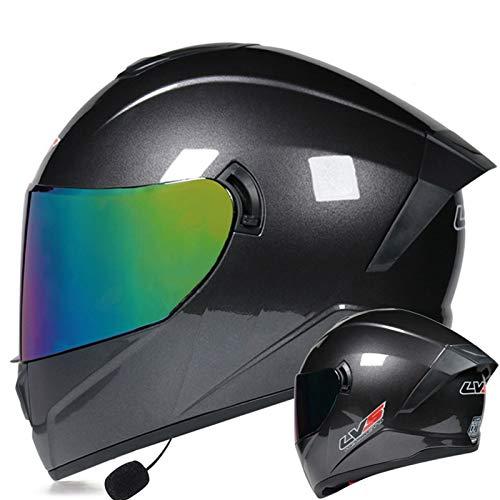 ZLYJ Casco De Motocicleta con Doble Visera Y Abatible hacia Arriba Cascos Integrales Casco Protector De Moto Casco Abatible Modular Aprobado por ECE I,L(59-60cm)