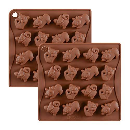 JasCherry 2 Stück Katze Form Silikon Backform Kuchenform Silikonform Schokoladenform Pralinenform Backen Kuchenbackform für Schokolade, Praline, Süßigkeiten, Gelee, Eiswürfel und Seife #9