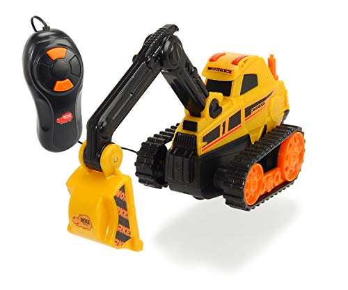 Dickie Toys Baustellenfahrzeug, 4 verschiedene Ausführungen, wahlweise Muldenkipper, Schaufelbagger, Betonmischer oder Radlader, mit Kabelsteuerung, inkl. Batterien, 13 cm, ab 3 Jahren