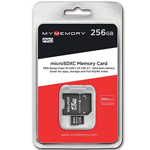 MyMemory PRO A1 256GB Micro SD (SDXC) Speicherkarte Class 10 4K UHD V30 UHS-1 U3 Fast Memory Card ideal für Burst-Mode Fotos, 4K Videos, Nintendo Switch, Drohnen + SD Adapter 100MB/Sek
