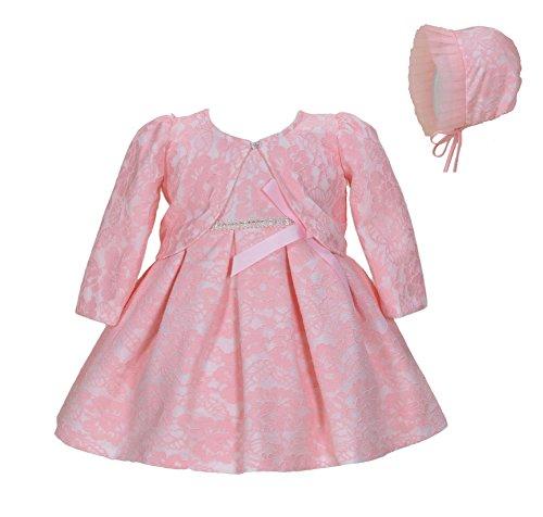 Cinda Bebé niñas Bautizo Fiesta Vestido de Encaje con bonete Rosa con Bolero 6-12 Meses
