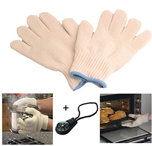HK Online High Heat Protection OVEN GLOVES & 360° LANYARD COMPASS -Cooking Gloves, Pot Holder, Keep Skin Cool, Kitchen, Restaurant, Cafe, Cooking, Baking & BBQ Gloves