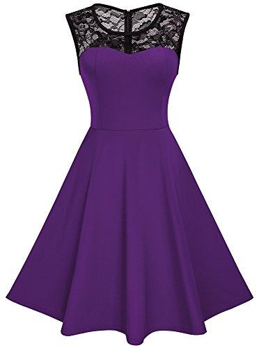 HOMEYEE Damen Elegant Spitze Rundhalsausschnitt Ärmel Mesh-A-Linie Kleid UKA008 (EU 38 (Herstellergroesse: M), Violett)