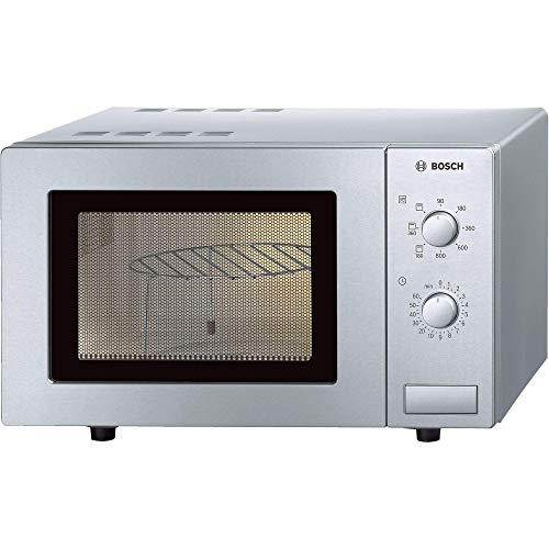 Bosch HMT72G450B Serie 4 Freestanding 800W Microwave Oven with Grill, 17 litre, Brushed Steel