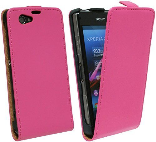 ENERGMiX Klapptasche Schutztasche kompatibel mit Sony Xperia Z1 Compact D5503 in Pink Tasche Hülle