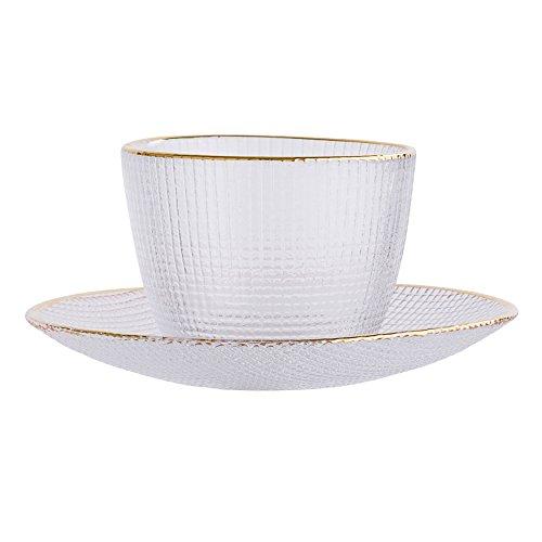 Bloomingville A32907233 Tasse und Untertasse mit goldfarbenem Rand, 2-teilig