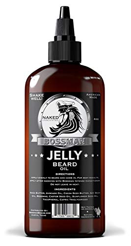 Bossman Beard Oil (4oz) – Beard Softener, Bigger Bottle, Thicker Growth, All Natural, American Made, Non Greasy Jelly Beard Oil (Naked Scent)