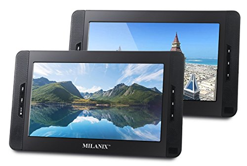 Best Review Of Milanix 10 Portable Dual Screen DVD Player System For Car With Built In 5 Hour Recha...