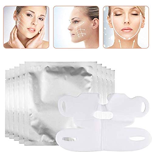 10 pieces Facial Slimming Lifting Chin Belt, V-shaped thin Face Hydrotherapy Whitening Pull Mask for Neck and Chin Lift Anti-Aging, Reduce Wrinkles, Dark Spots and Fine Lines, Reduce Double Chin