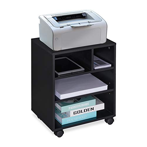 Relaxdays Rollcontainer, 4 offene Fächer, für Arbeitszimmer & Büro, MDF Büroschrank, HBT: 49 x 40 x 30 cm, schwarz