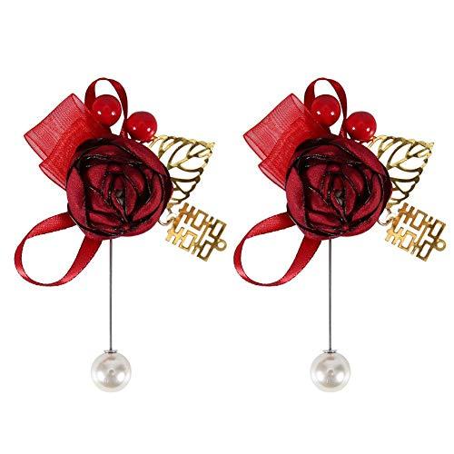 Bruiloft Corsage Kunstmatige Rose Corsage Bruid Bruidegom Borst Bloem Bruiloft Kleding Decoratie Accessoires(Wijn rode corsage)