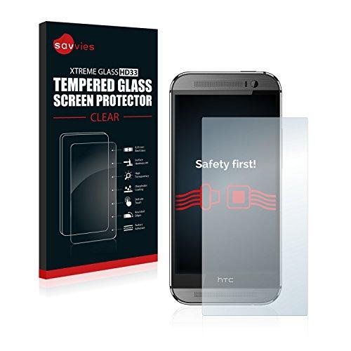 Savvies Panzerglas kompatibel mit HTC One M8 / M8s - Echt-Glas, 9H Festigkeit, Anti-Fingerprint