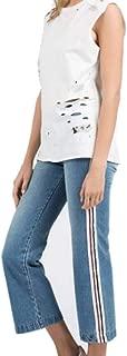 Womens Sleeveless Round Neck Distressed Tank with Paint Detail-White-Medium