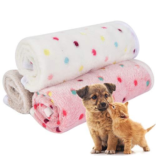 Vejaoo Manta de Mascota, para Perros Gatos Conejos y Otras Mascotas Manta para Gato,3 pcs XZ019 (104 * 76cm, Beige+Pink+Light Coffee Dots)