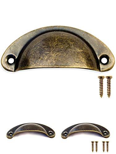 Fuxxer Lot de 2 paires de poignées en forme de coquille en fer vieilli pour portes d'armoires, buffets, coffres, commodes style vintage rétro 80 x 36 mm avec 4 vis