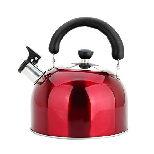 tea kettle Bouilloire à thé en Acier Inoxydable Rouge, Cuisinière Théière de Sifflet avec Poignée Ergonomique et buse de Verdure Droite