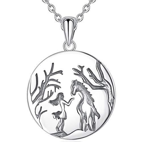 VAWAA 925 Sterling Silber Pferd Namensschild Halskette Anhänger Mädchen & Geist Pferd Halskette Reiten Schmuck Tier Anhänger