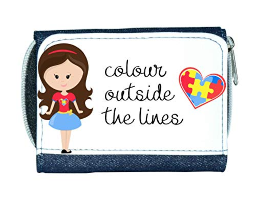 Colour Outside The Lines - Autism Puzzle Heart Quote (Girl 1 with Long Brown Hair) Stylish Ladies Purse