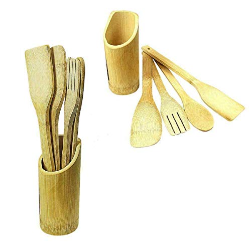 RARA Set of 5 Bamboo Utensil Wooden Spoon Kitchen Cooking Utensils Spatula Tools Set with Holder 100% Eco-Friendly Natural Bamboo